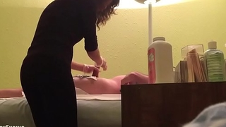 Cumshot during waxing - SpyHappyEnding