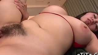 Breasty oriental charms two hunks with aspiring titty fuck