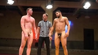 Ripped stud dominates wrestle before fucking