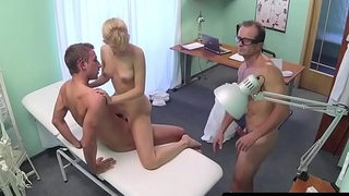 Doctors have pussy fucking trio in office