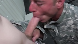 Gay soldiers fucking and spilling cum in orgy