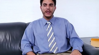 Office stud assfucked in threesome