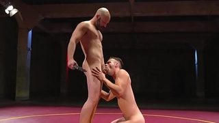 Doggystyled stud wrestling before analsex