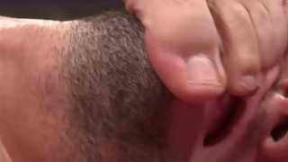 Muscular hunk jerks cock until shoot jizz