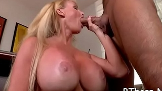 Beautiful playgirl with large tits has a steaming hardcore fuck