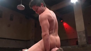 Wrestling jock rimjob and gets facialized