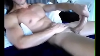 Hot Shaved Muscled Guy Masturbating Solo