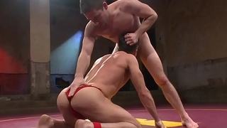 Grapple with hunk gagged increased by anally screwed