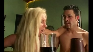Double penetration of a festival slut in a bar