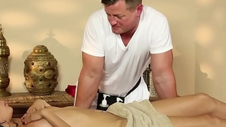 Petite beauty deepthroats cock after massage